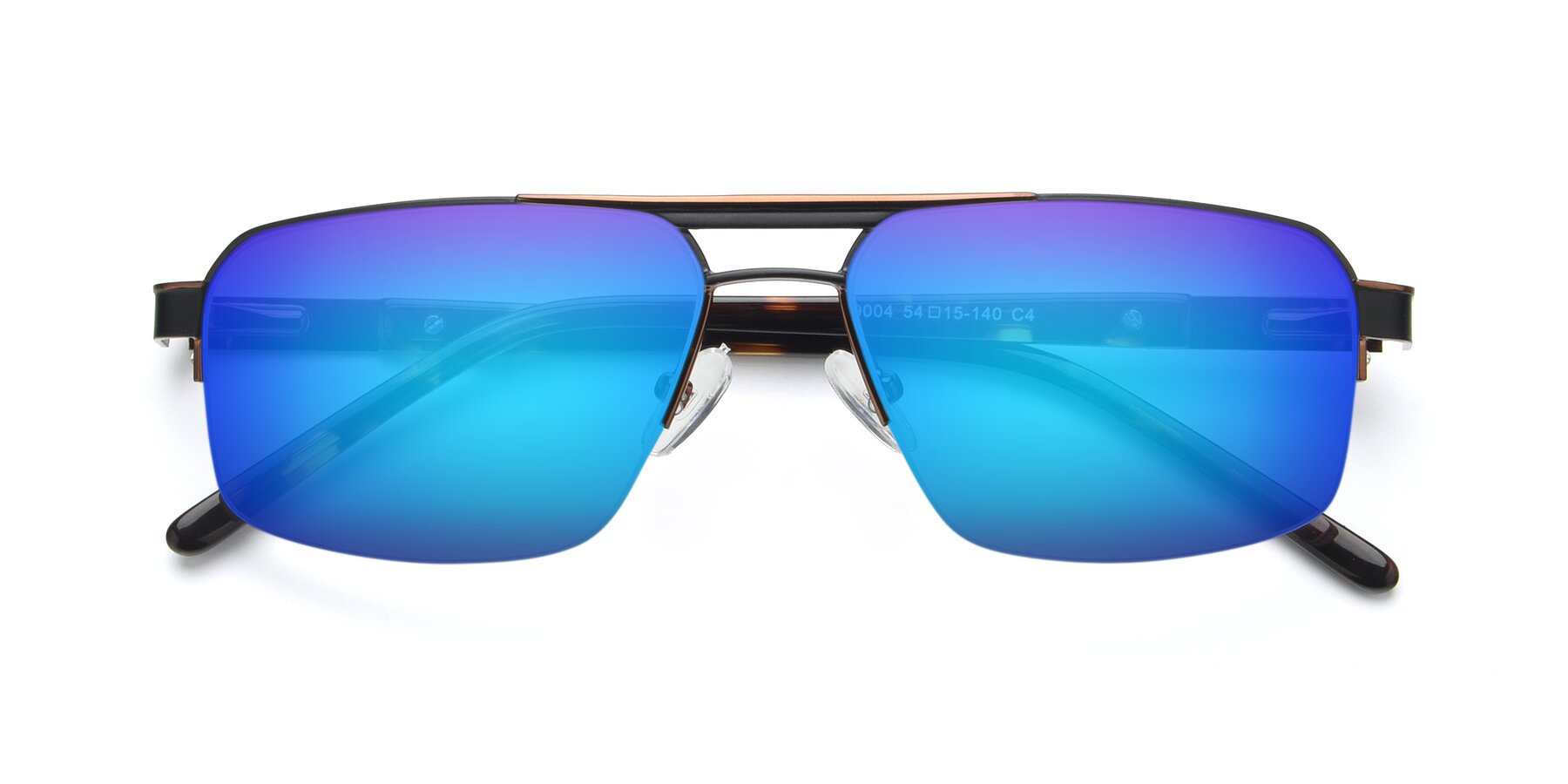 Folded Front of 19004 in Black-Bronze with Blue Mirrored Lenses