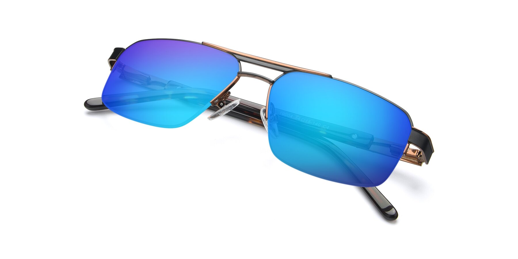 View of 19004 in Black-Bronze with Blue Mirrored Lenses