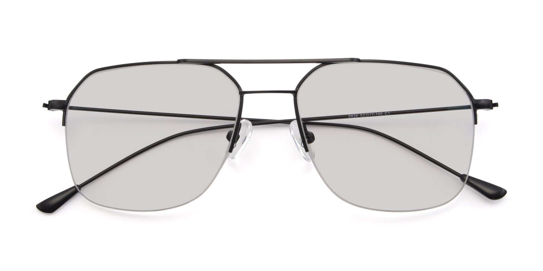 Folded Front of 9434 in Matte Black with Light Gray Tinted Lenses