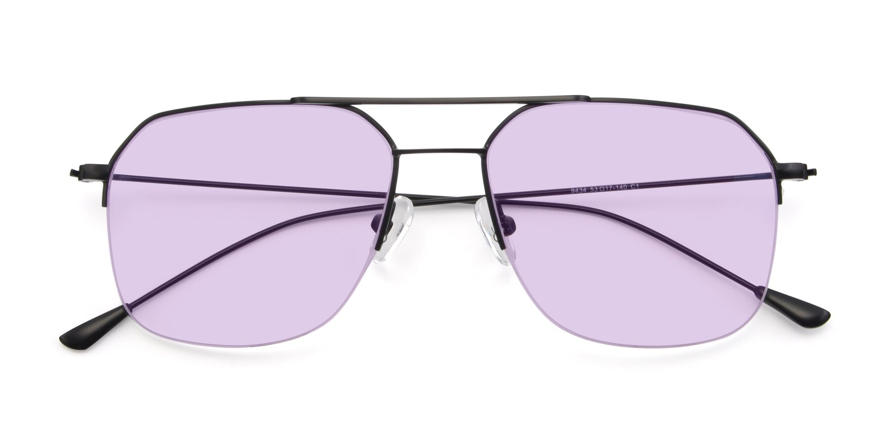 Folded Front of 9434 in Matte Black with Light Purple Tinted Lenses