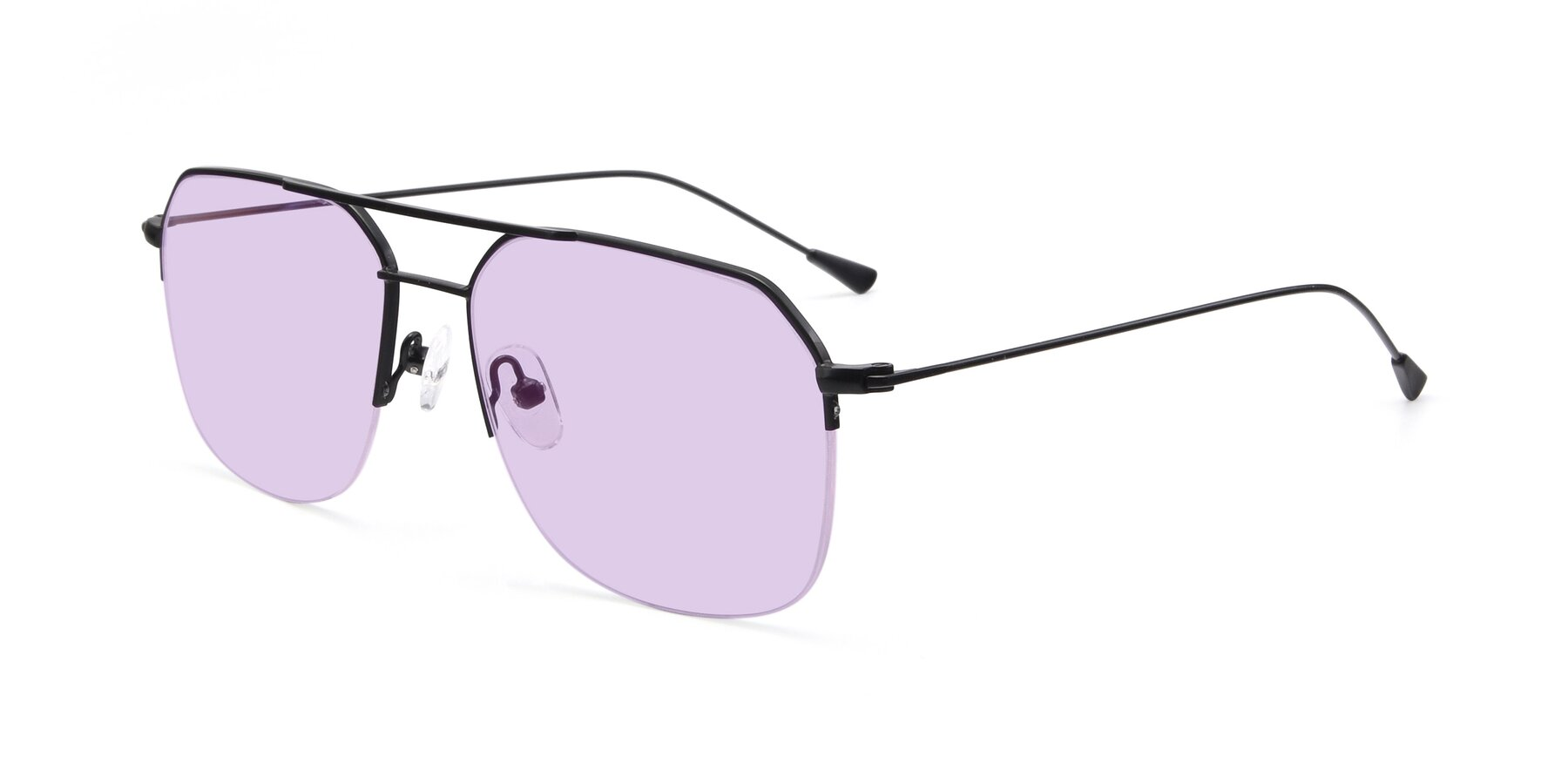 Angle of 9434 in Matte Black with Light Purple Tinted Lenses