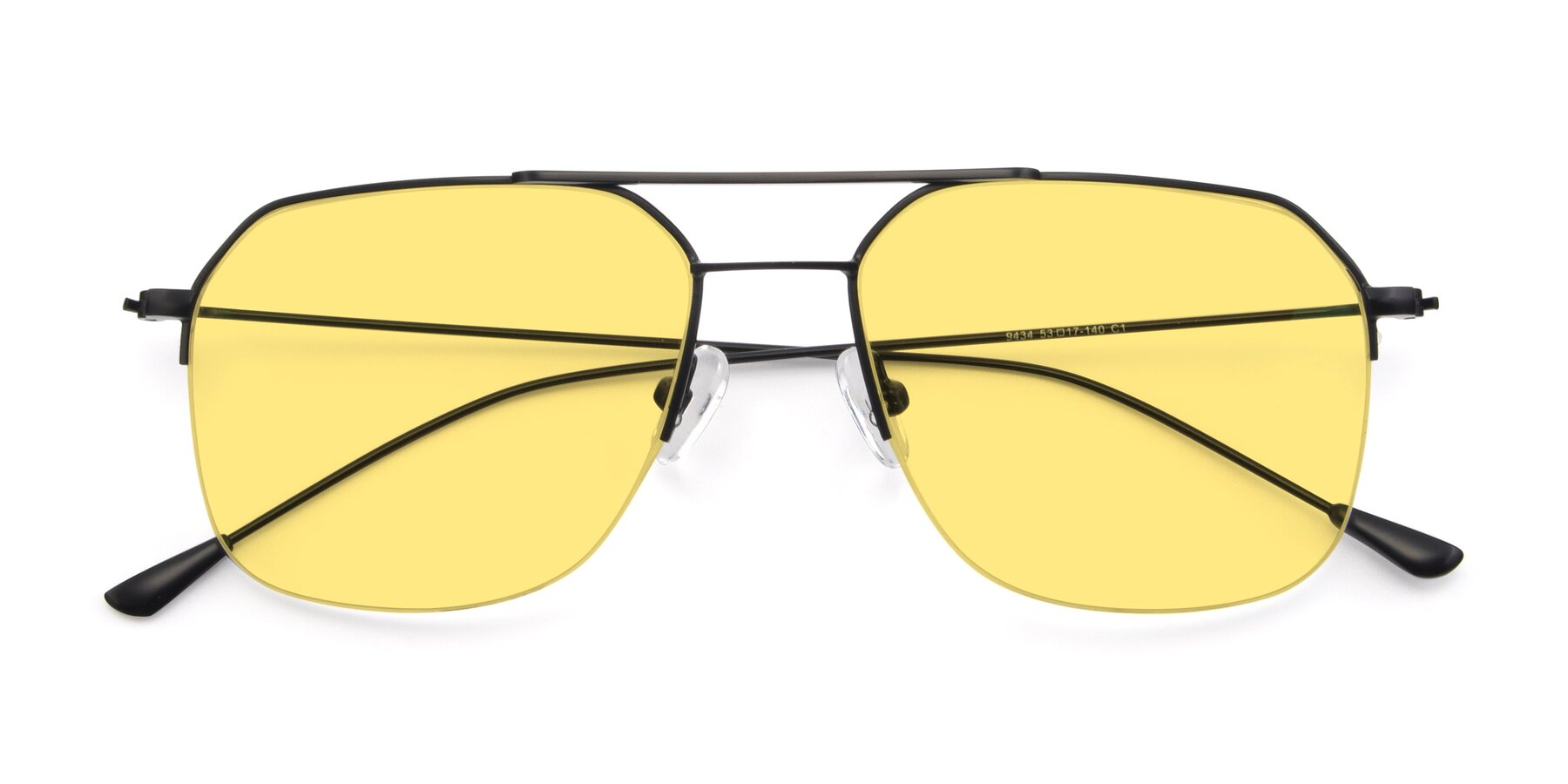 Folded Front of 9434 in Matte Black with Medium Yellow Tinted Lenses
