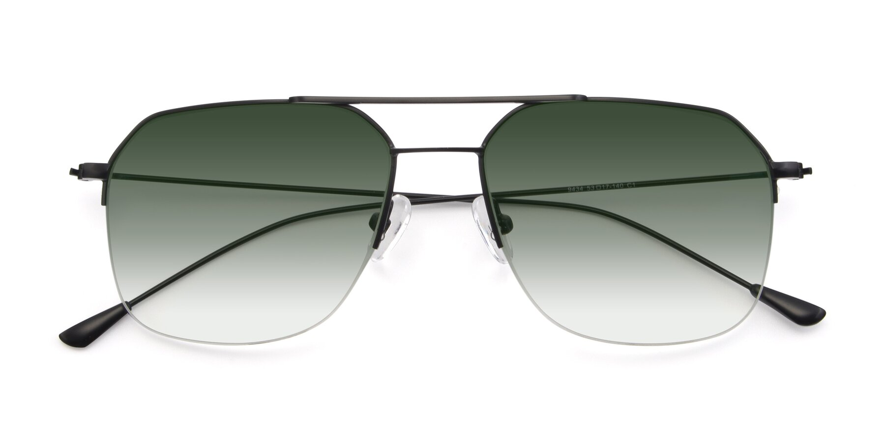 Folded Front of 9434 in Matte Black with Green Gradient Lenses