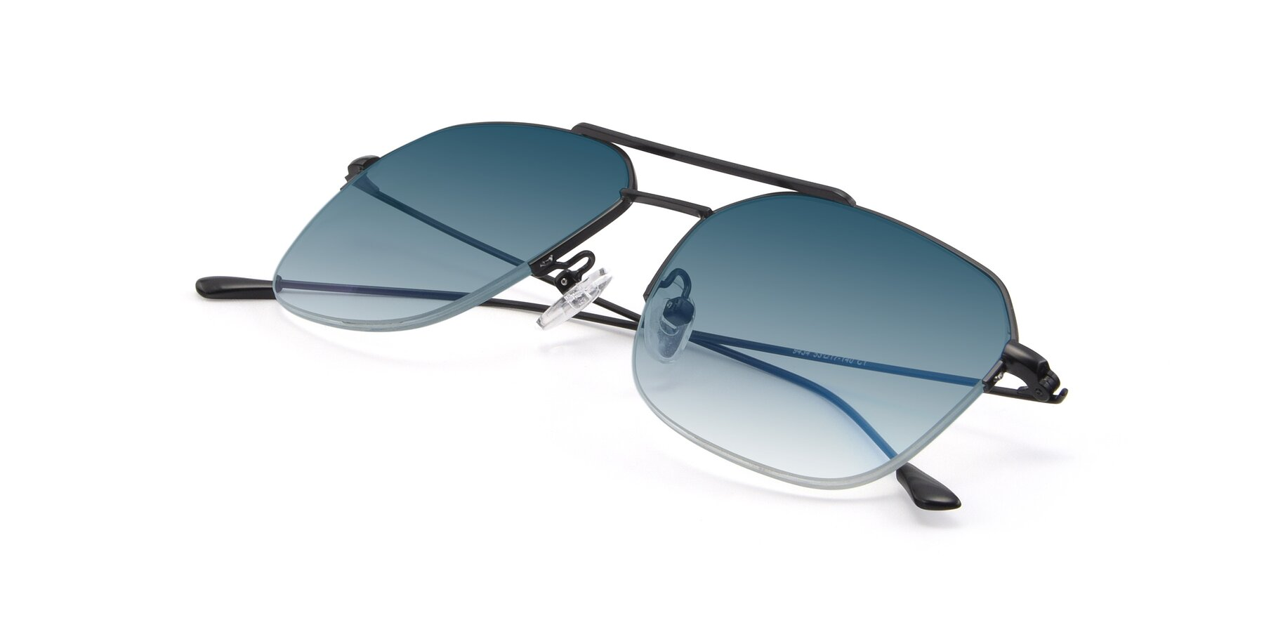 View of 9434 in Matte Black with Blue Gradient Lenses