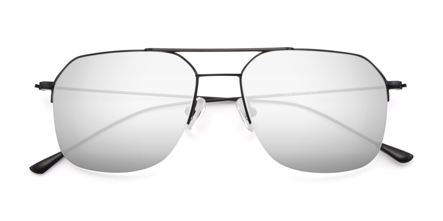 Folded Front of 9434 in Matte Black with Silver Mirrored Lenses