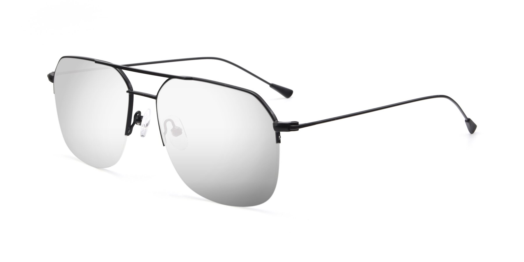 Angle of 9434 in Matte Black with Silver Mirrored Lenses