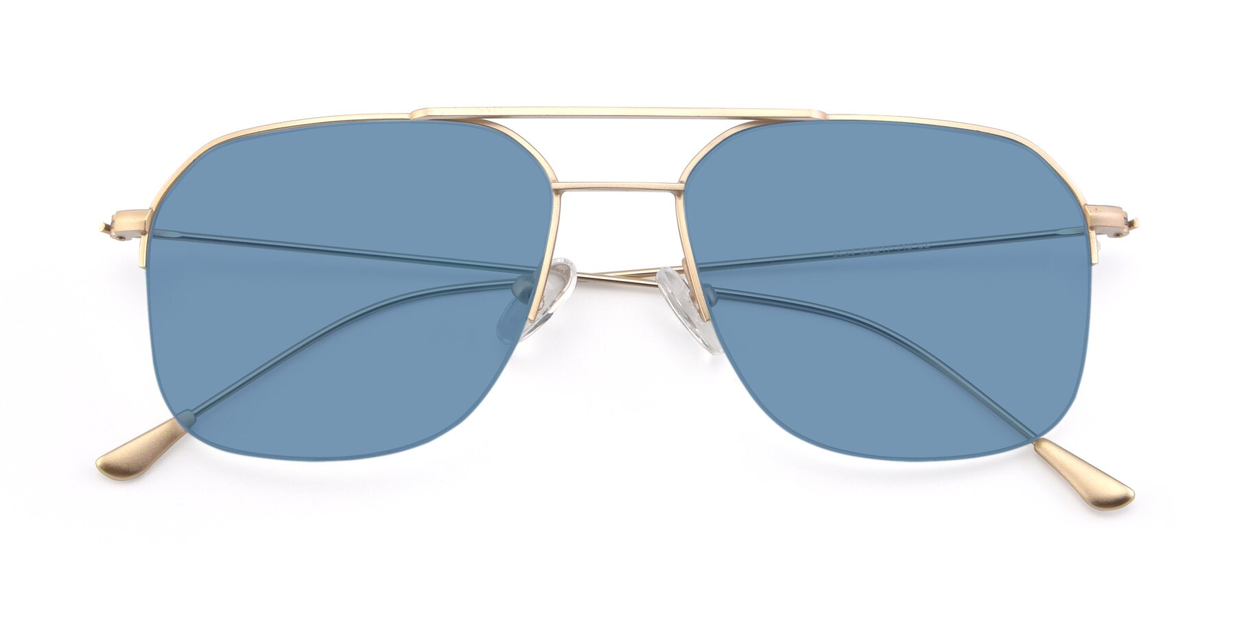 Folded Front of 9434 in Jet Gold with Medium Blue Tinted Lenses