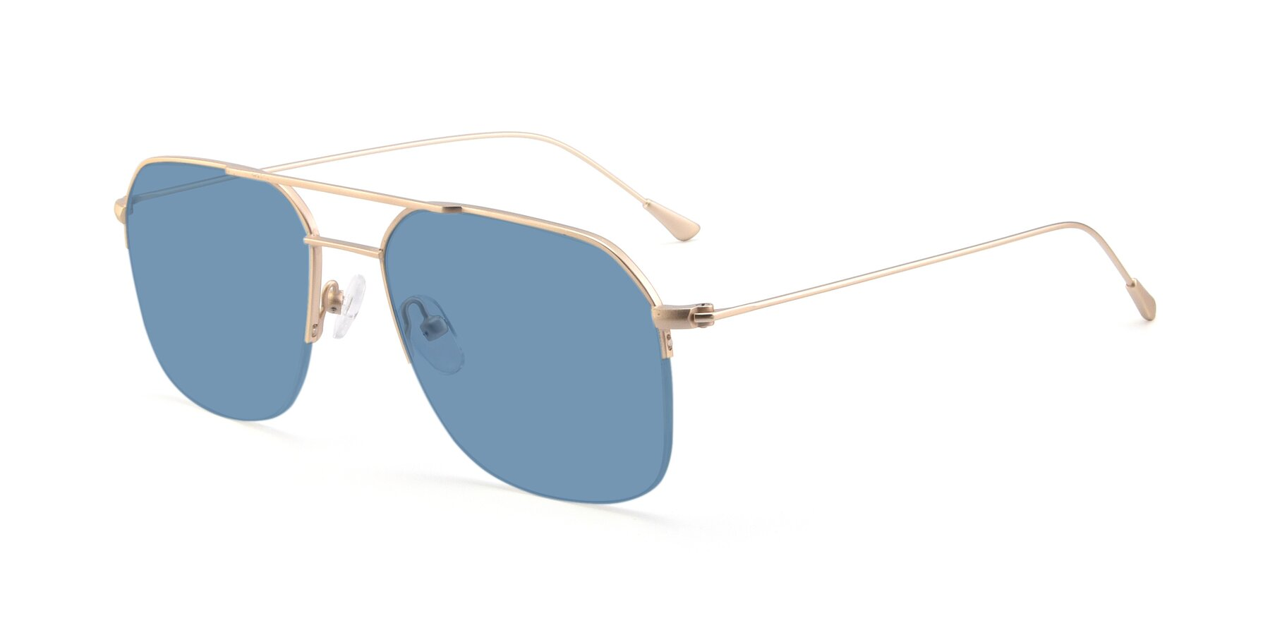 Angle of 9434 in Jet Gold with Medium Blue Tinted Lenses