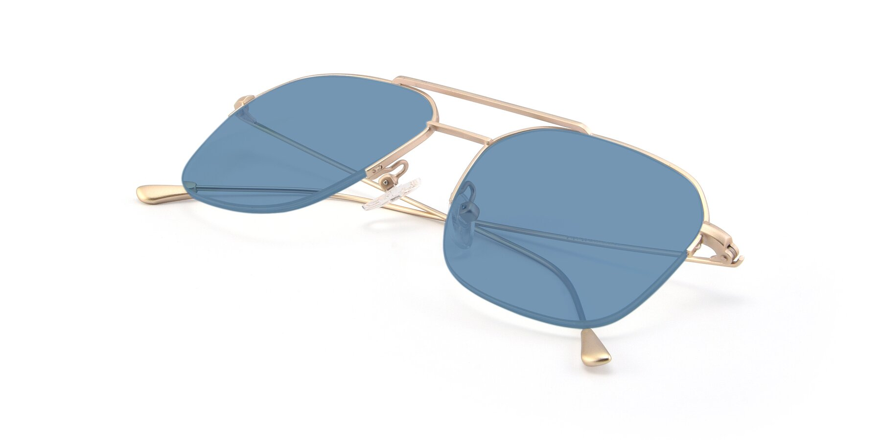 View of 9434 in Jet Gold with Medium Blue Tinted Lenses
