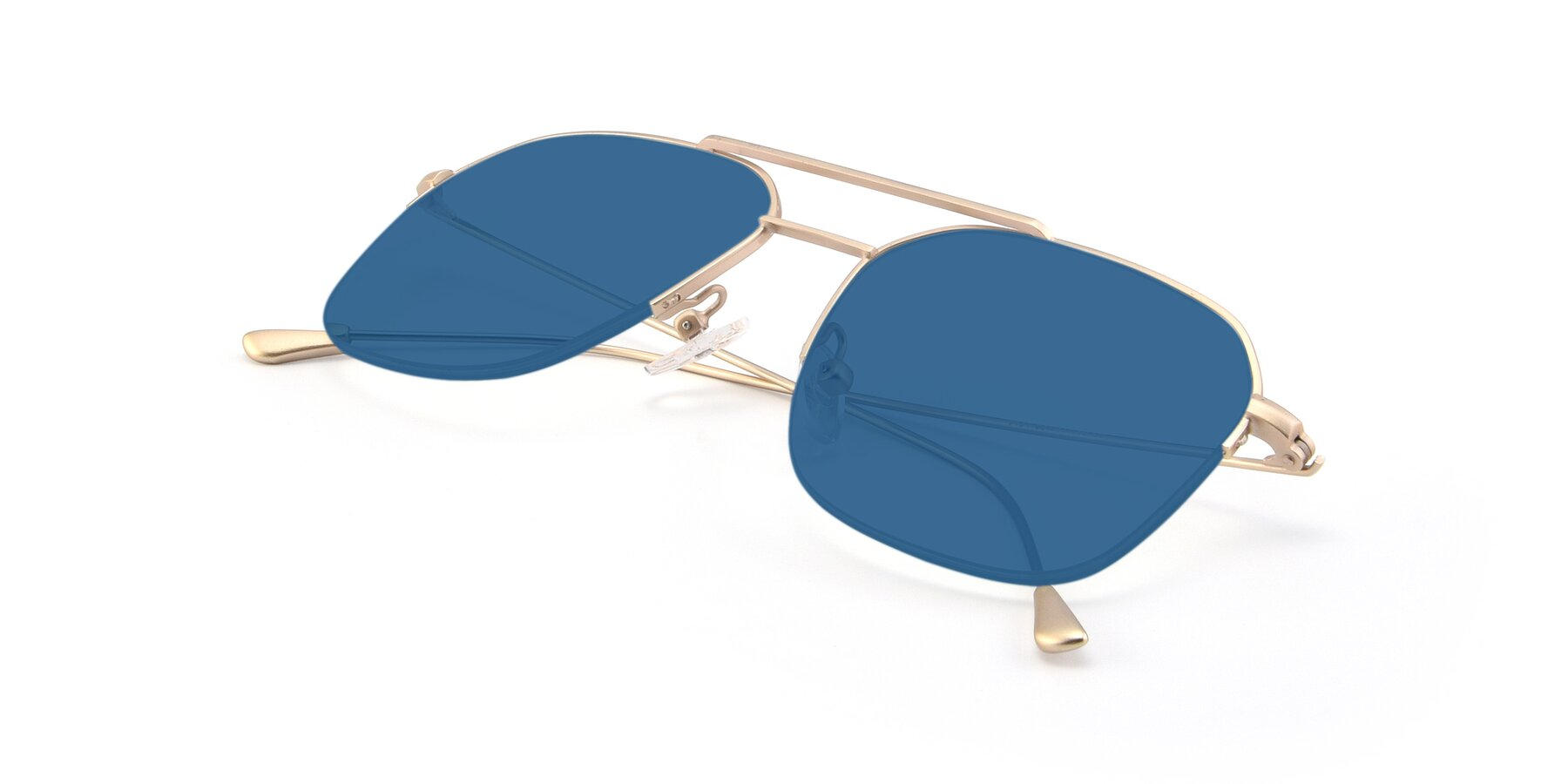 View of 9434 in Jet Gold with Blue Tinted Lenses