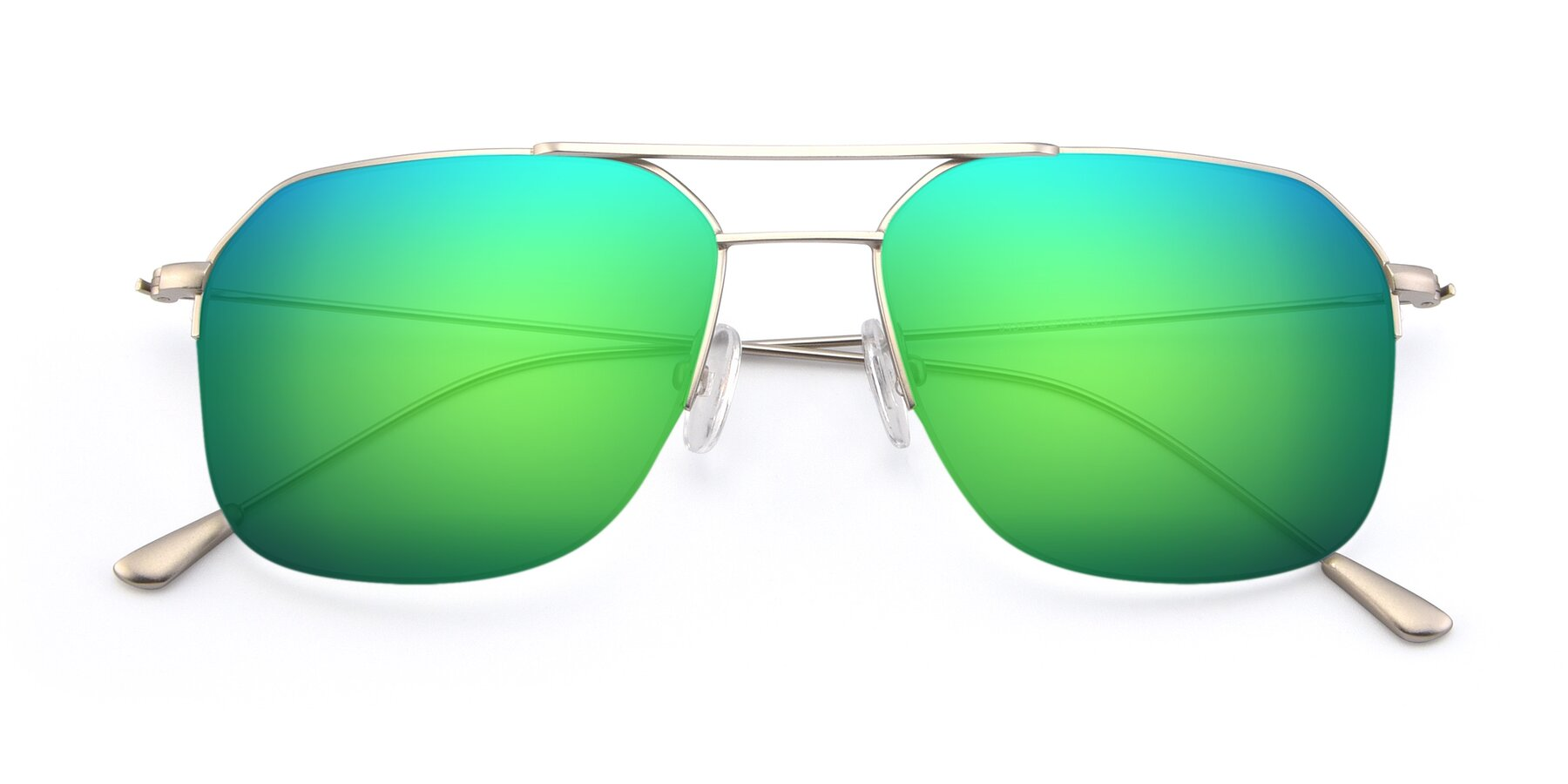 Folded Front of 9434 in Silver with Green Mirrored Lenses