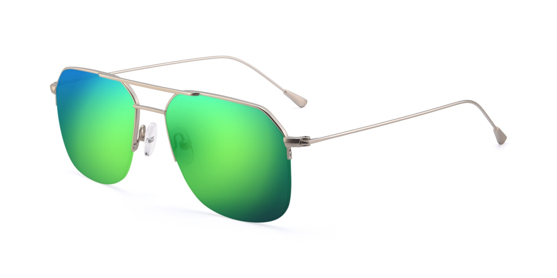 Angle of 9434 in Silver with Green Mirrored Lenses
