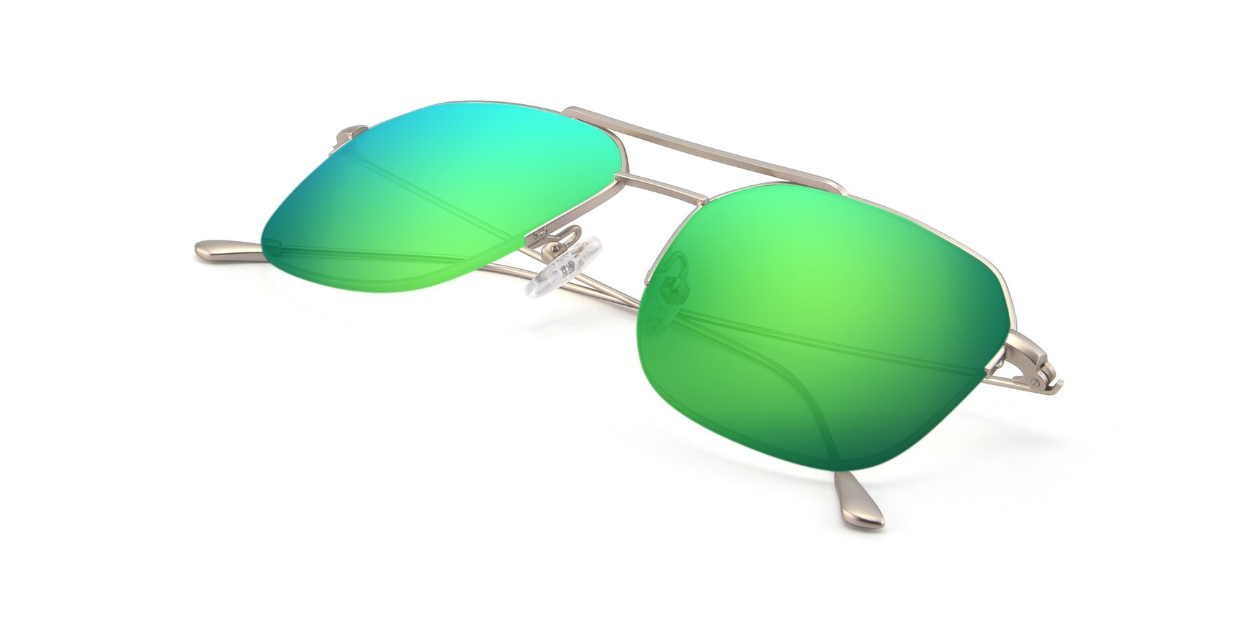 View of 9434 in Silver with Green Mirrored Lenses