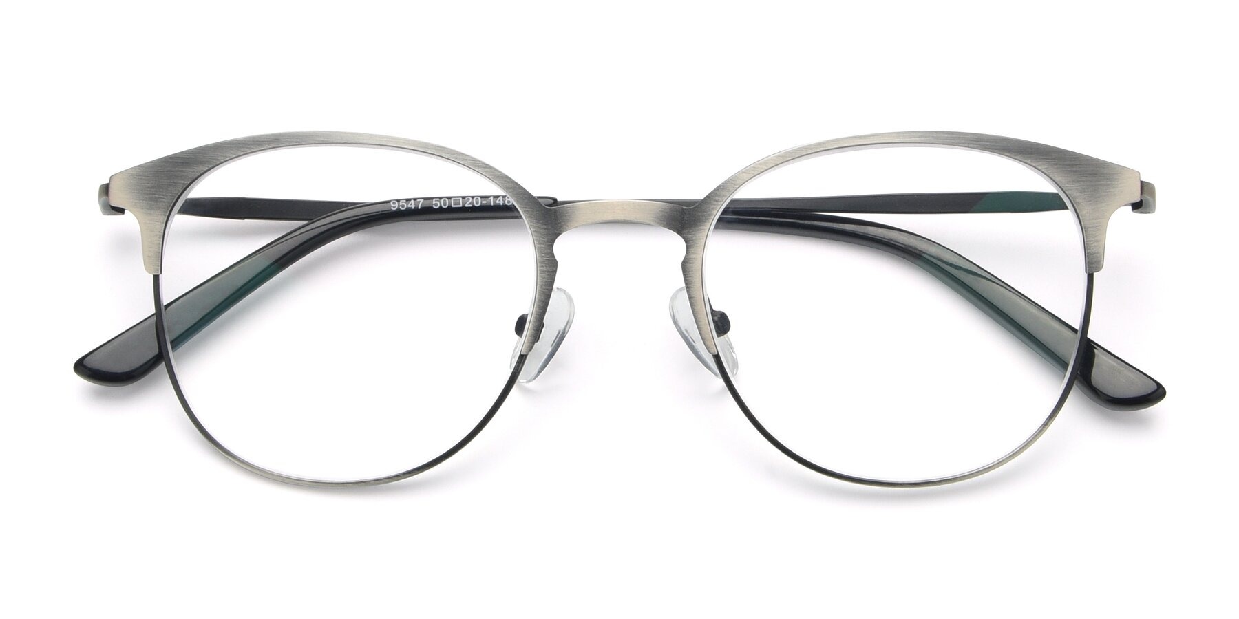 Folded Front of 9547 in Antique Gun with Clear Blue Light Blocking Lenses