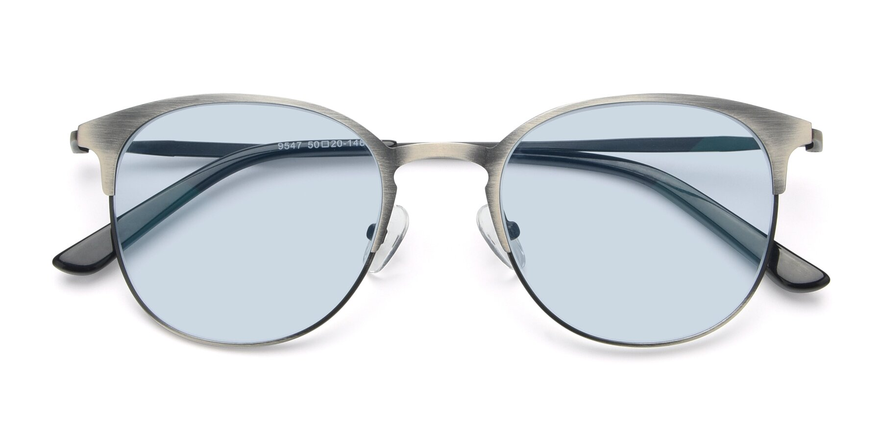 Folded Front of 9547 in Antique Gun with Light Blue Tinted Lenses