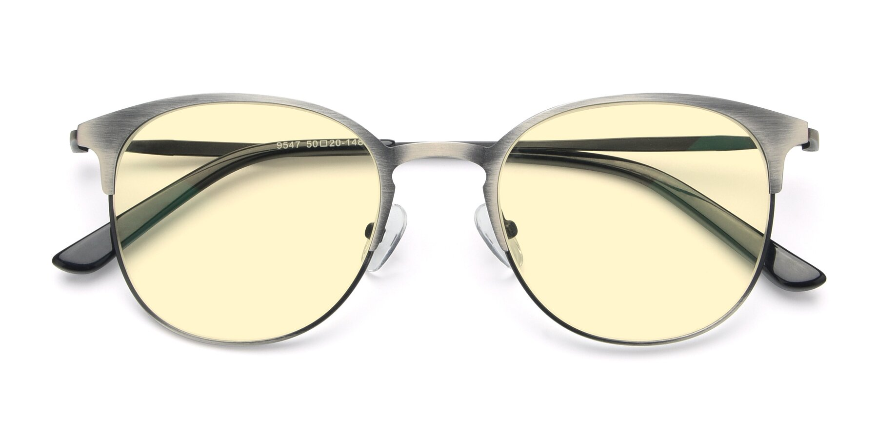 Folded Front of 9547 in Antique Gun with Light Yellow Tinted Lenses