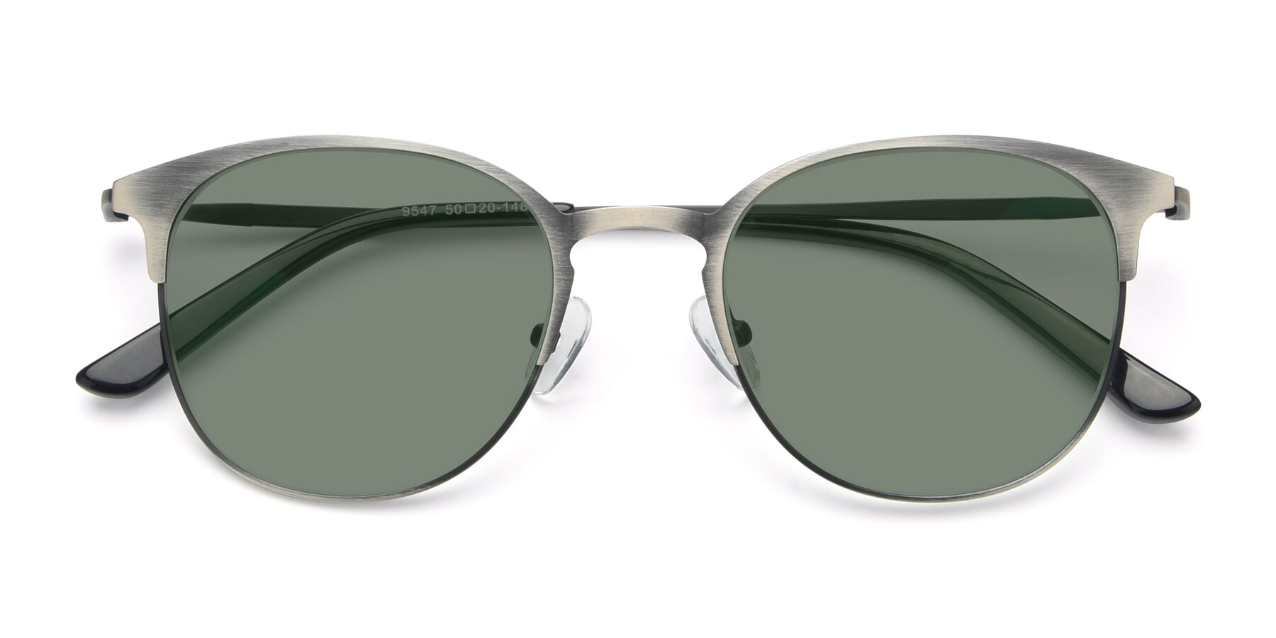 Folded Front of 9547 in Antique Gun with Medium Green Tinted Lenses
