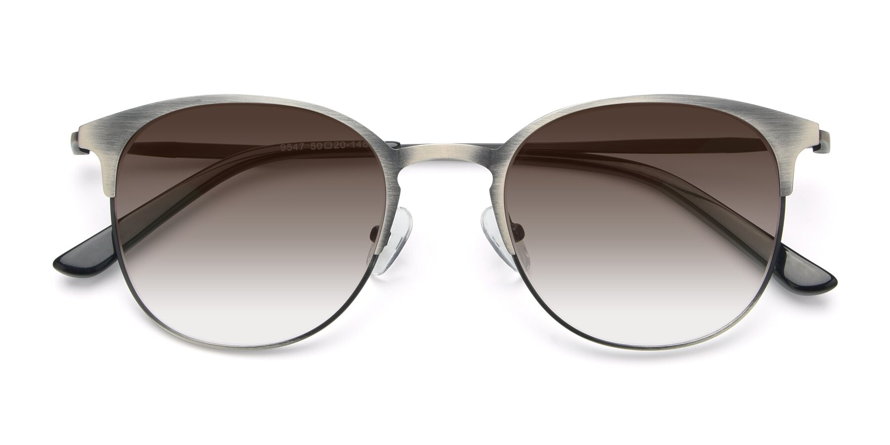 Folded Front of 9547 in Antique Gun with Brown Gradient Lenses