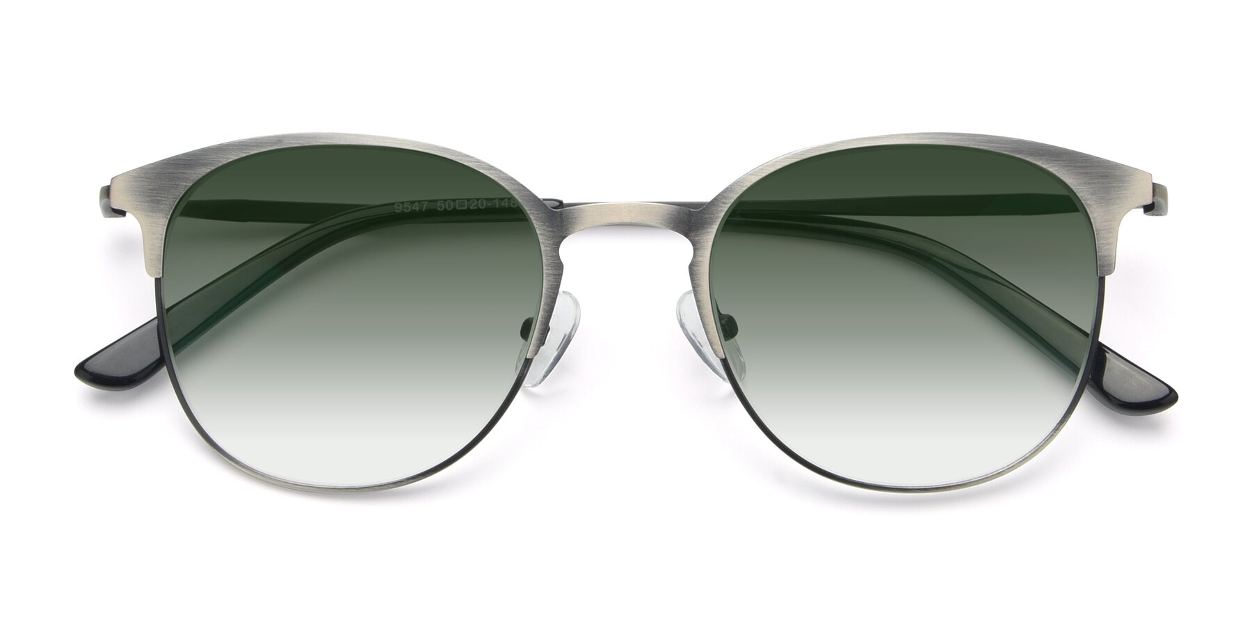 Folded Front of 9547 in Antique Gun with Green Gradient Lenses