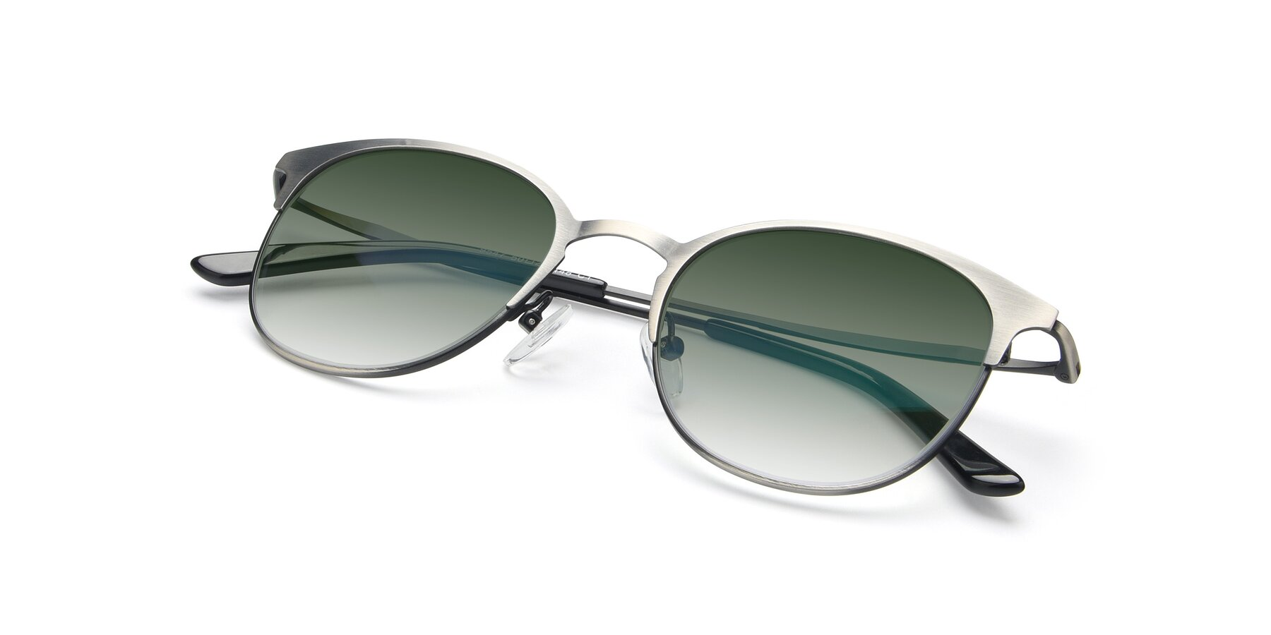 View of 9547 in Antique Gun with Green Gradient Lenses