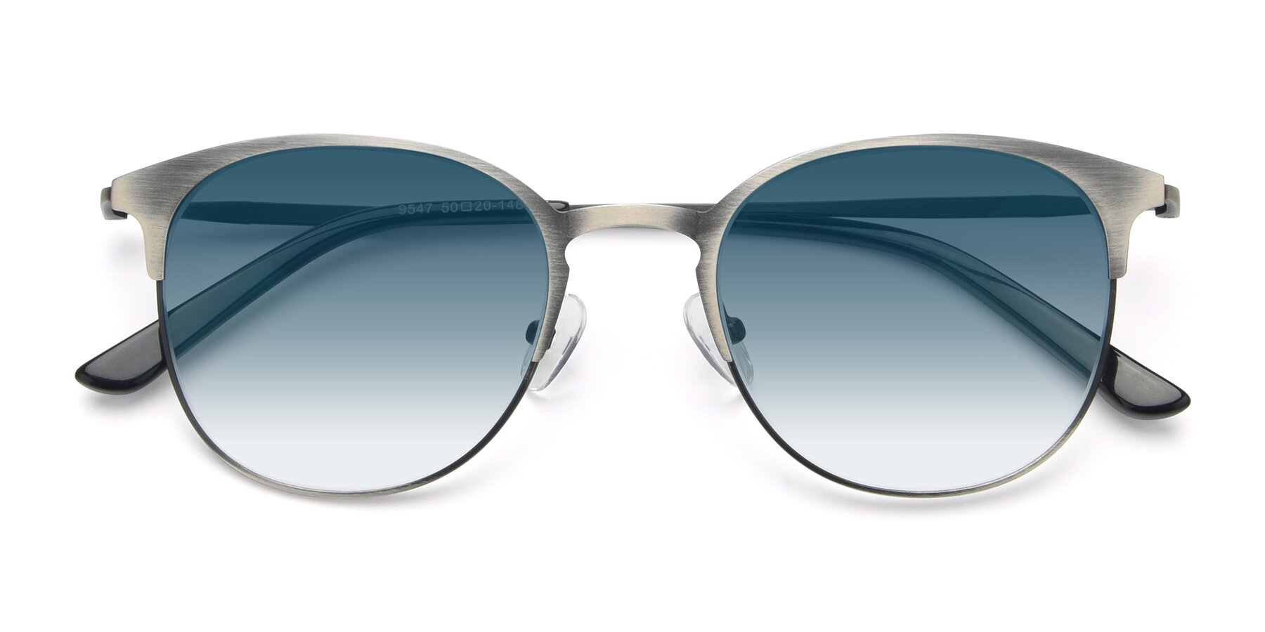 Folded Front of 9547 in Antique Gun with Blue Gradient Lenses