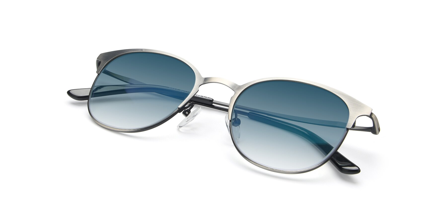 View of 9547 in Antique Gun with Blue Gradient Lenses