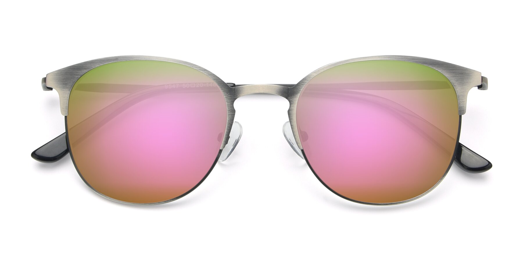 Folded Front of 9547 in Antique Gun with Pink Mirrored Lenses