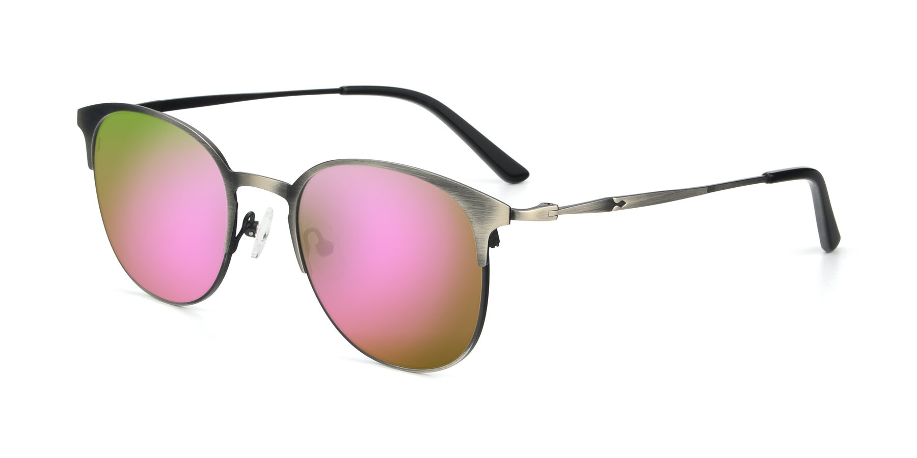 Angle of 9547 in Antique Gun with Pink Mirrored Lenses