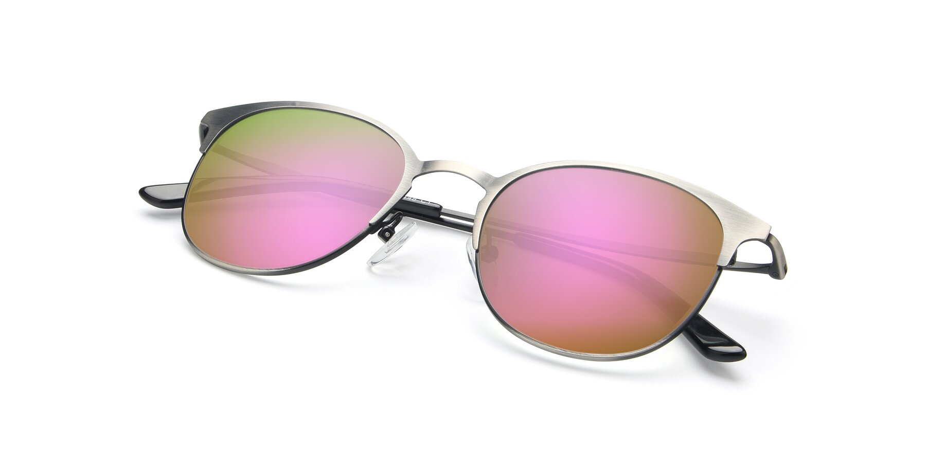 View of 9547 in Antique Gun with Pink Mirrored Lenses