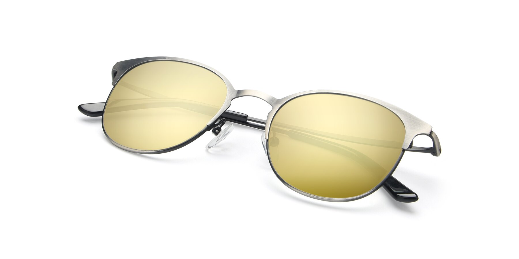View of 9547 in Antique Gun with Gold Mirrored Lenses