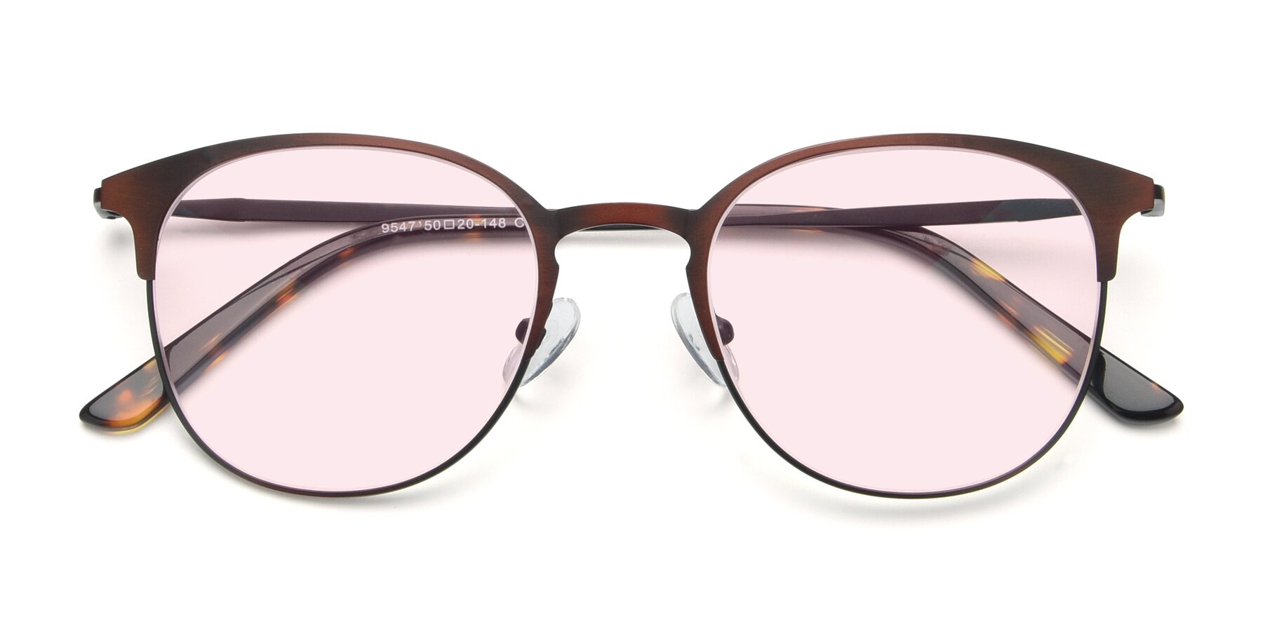 Folded Front of 9547 in Antique Brown with Light Pink Tinted Lenses