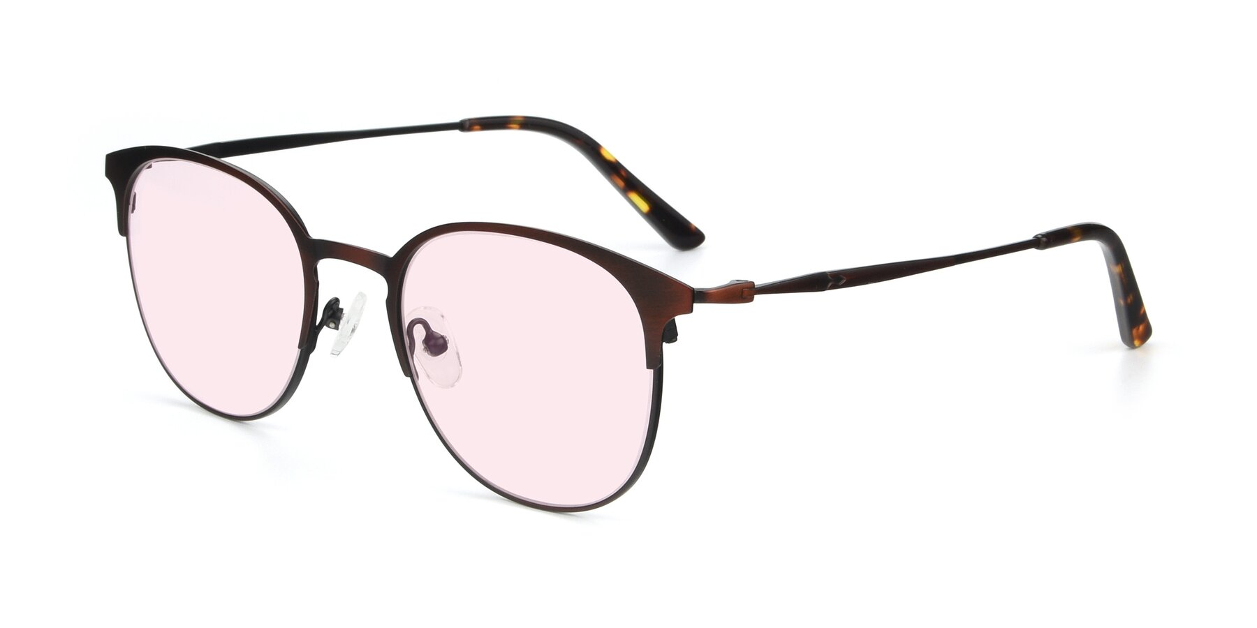 Angle of 9547 in Antique Brown with Light Pink Tinted Lenses