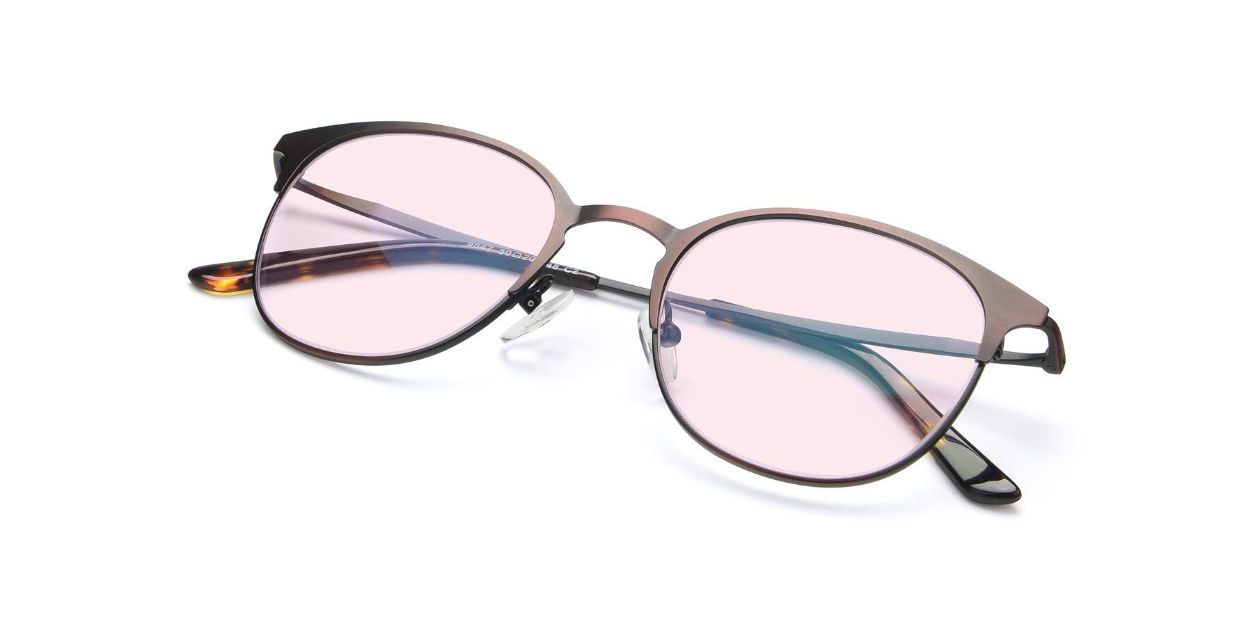 View of 9547 in Antique Brown with Light Pink Tinted Lenses