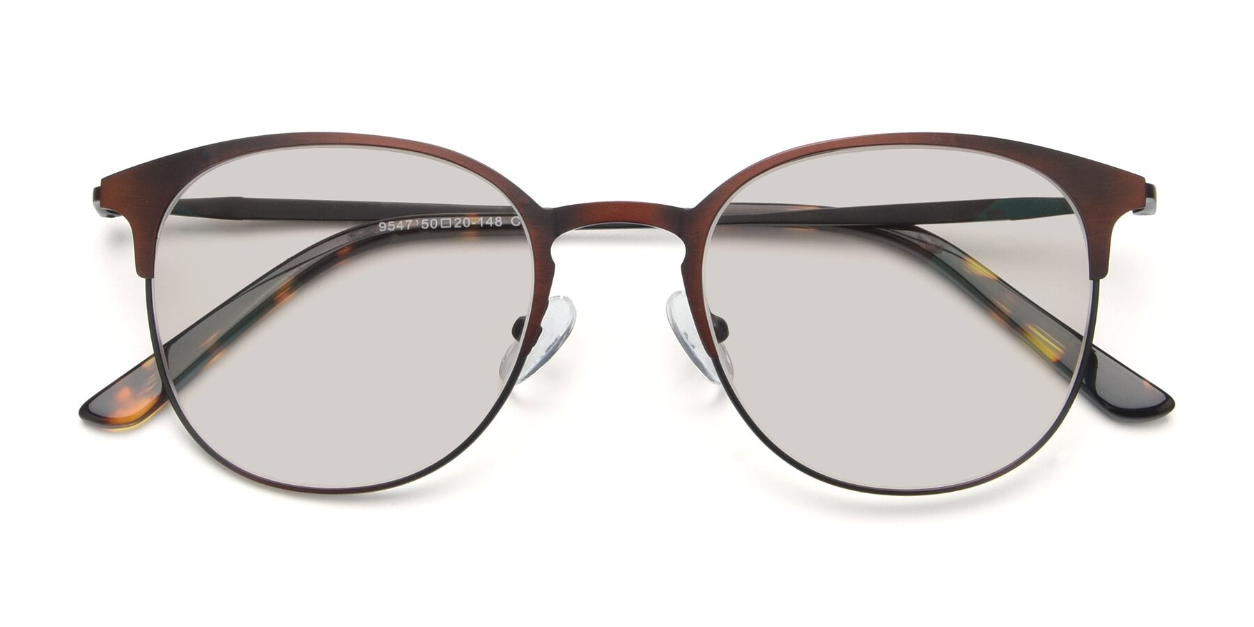 Folded Front of 9547 in Antique Brown with Light Brown Tinted Lenses