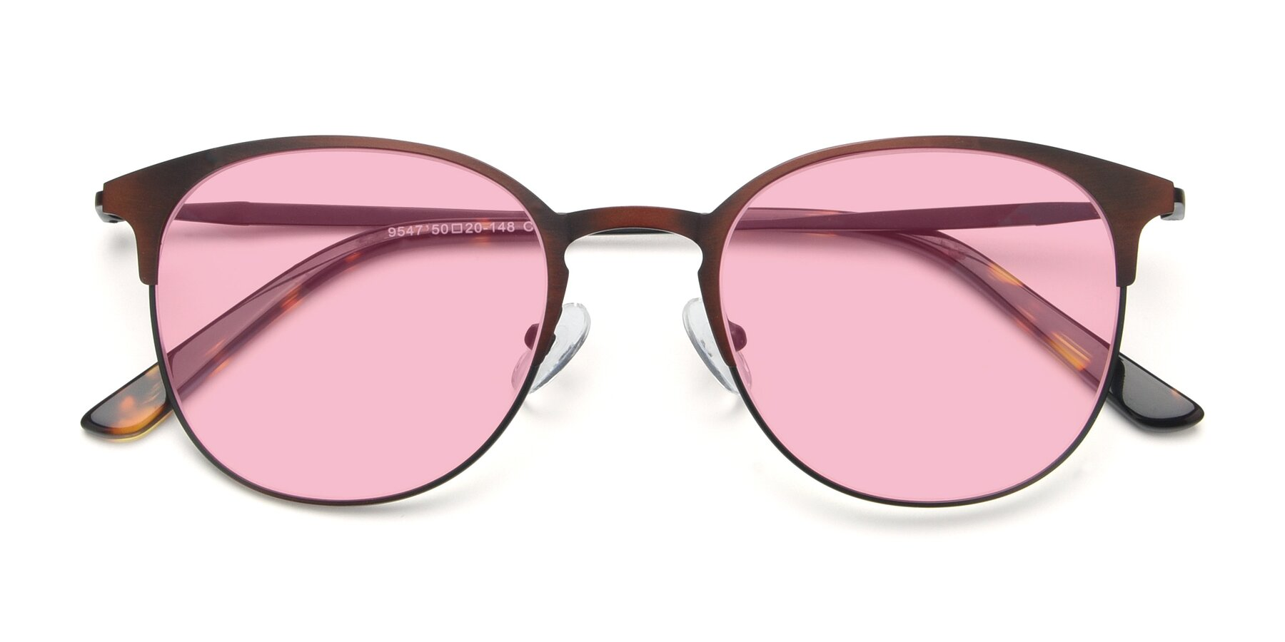 Folded Front of 9547 in Antique Brown with Medium Pink Tinted Lenses