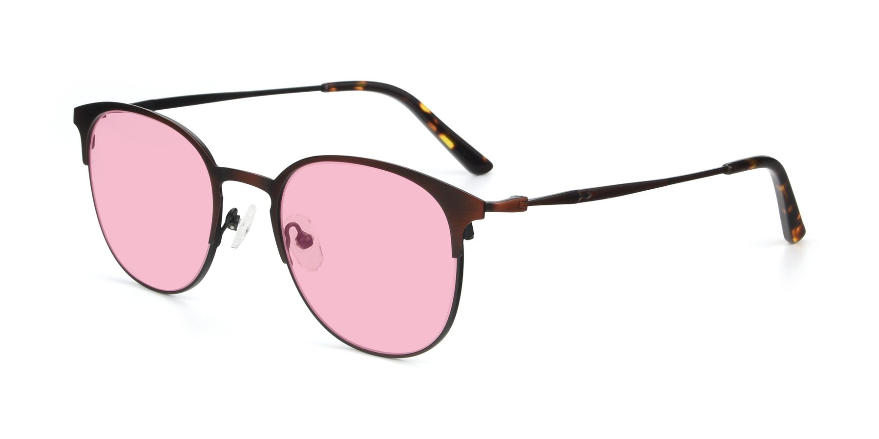 Angle of 9547 in Antique Brown with Medium Pink Tinted Lenses