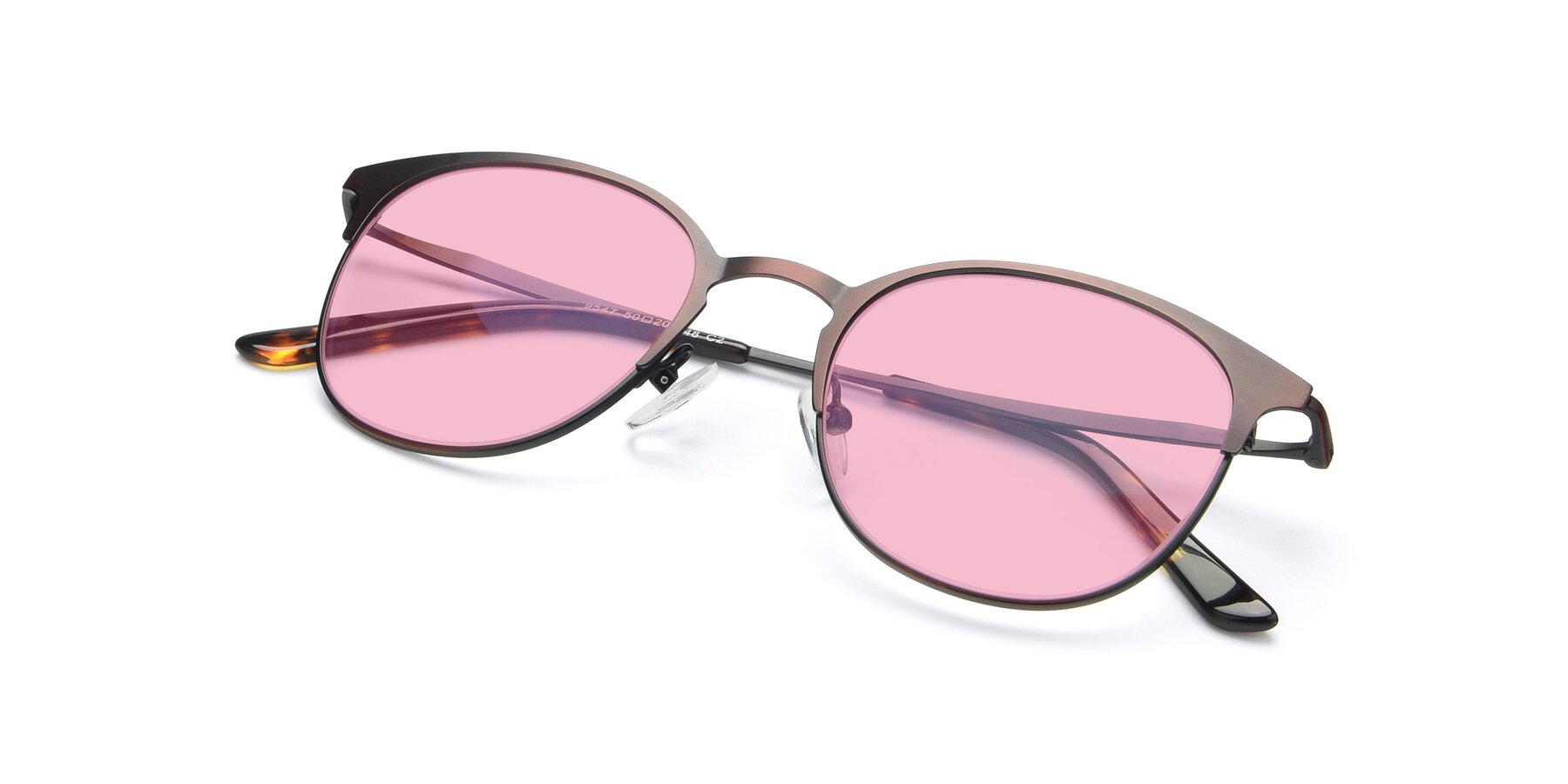 View of 9547 in Antique Brown with Medium Pink Tinted Lenses