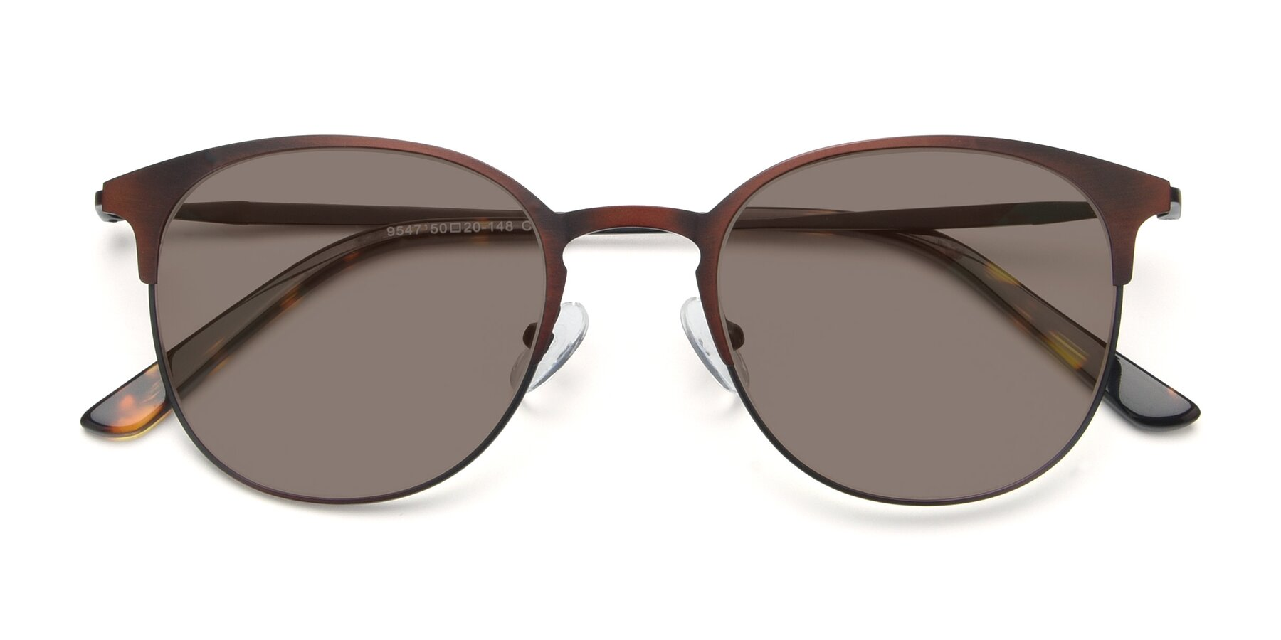 Folded Front of 9547 in Antique Brown with Medium Brown Tinted Lenses