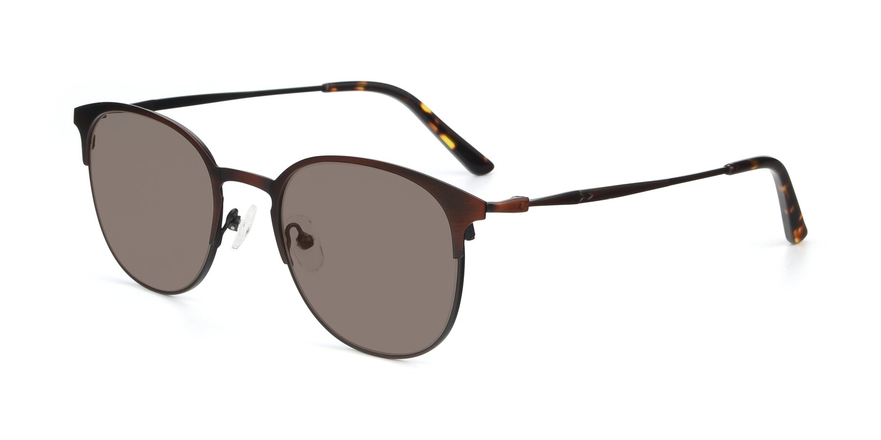 Angle of 9547 in Antique Brown with Medium Brown Tinted Lenses