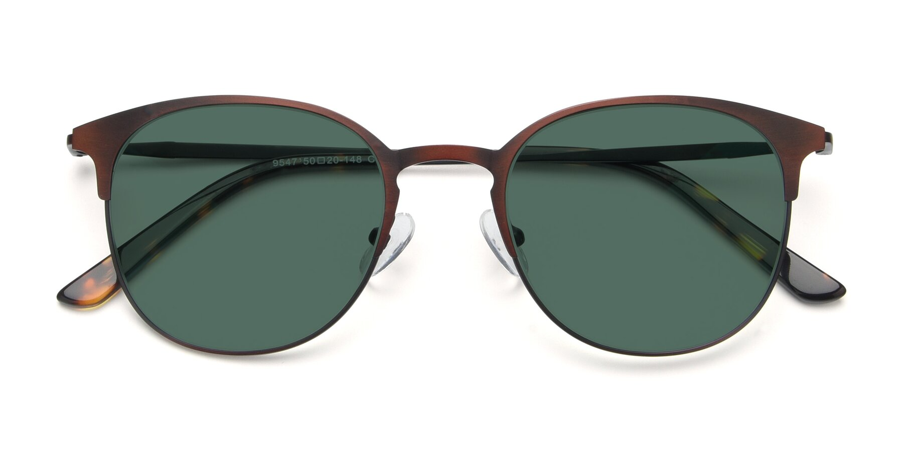Folded Front of 9547 in Antique Brown with Green Polarized Lenses