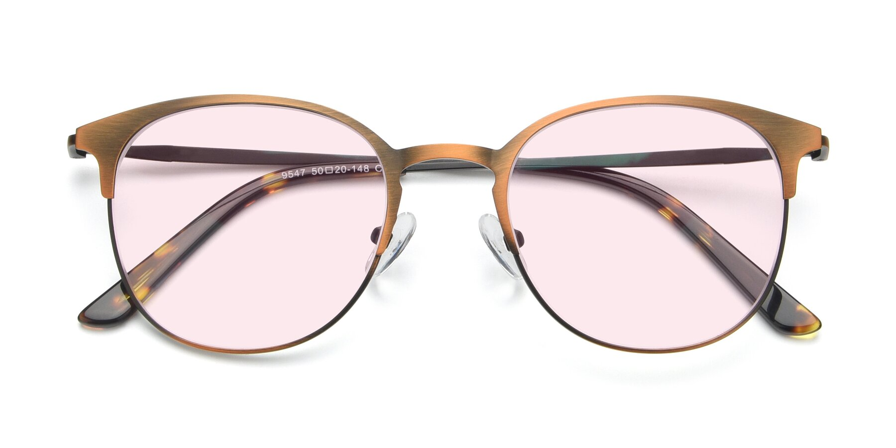 Folded Front of 9547 in Antique Bronze with Light Pink Tinted Lenses