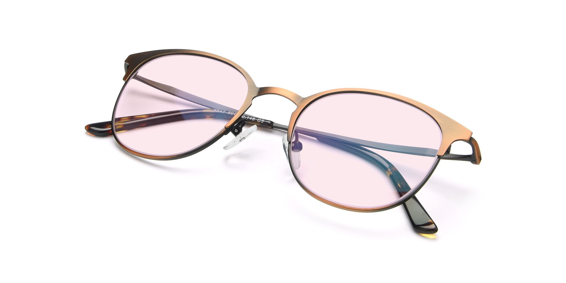 View of 9547 in Antique Bronze with Light Pink Tinted Lenses