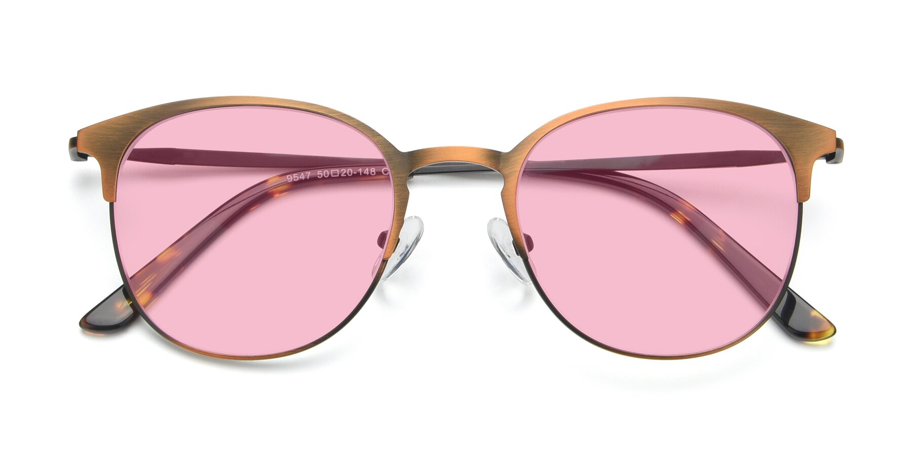 Folded Front of 9547 in Antique Bronze with Medium Pink Tinted Lenses