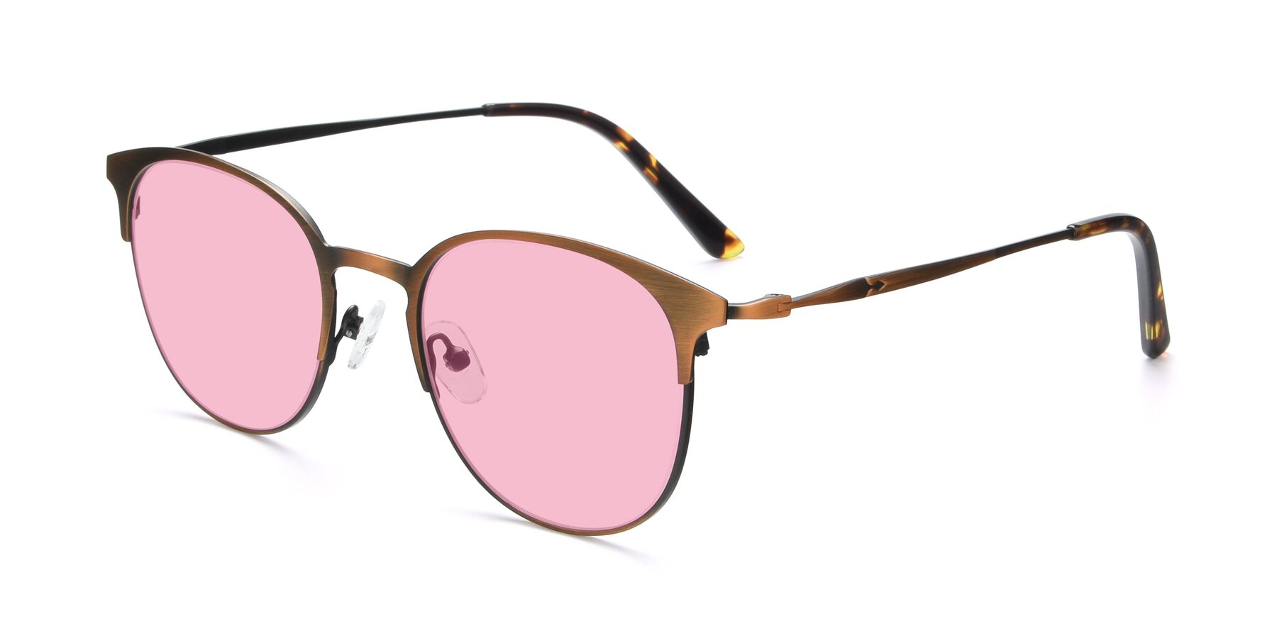 Angle of 9547 in Antique Bronze with Medium Pink Tinted Lenses