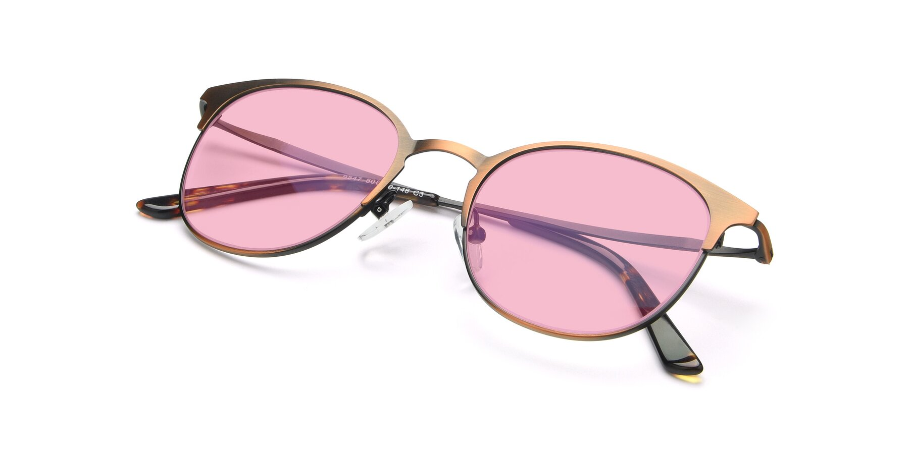 View of 9547 in Antique Bronze with Medium Pink Tinted Lenses