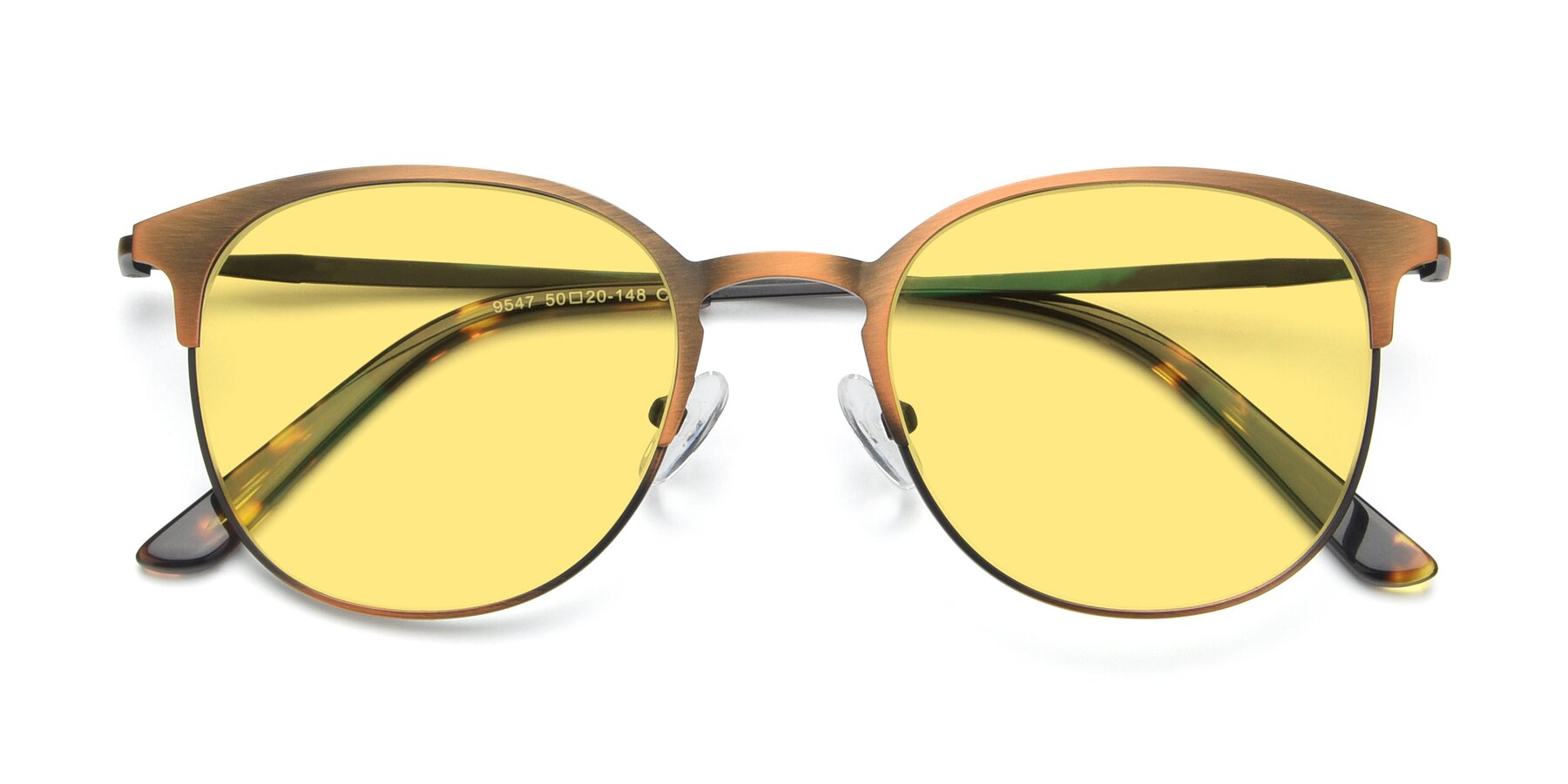 Folded Front of 9547 in Antique Bronze with Medium Yellow Tinted Lenses