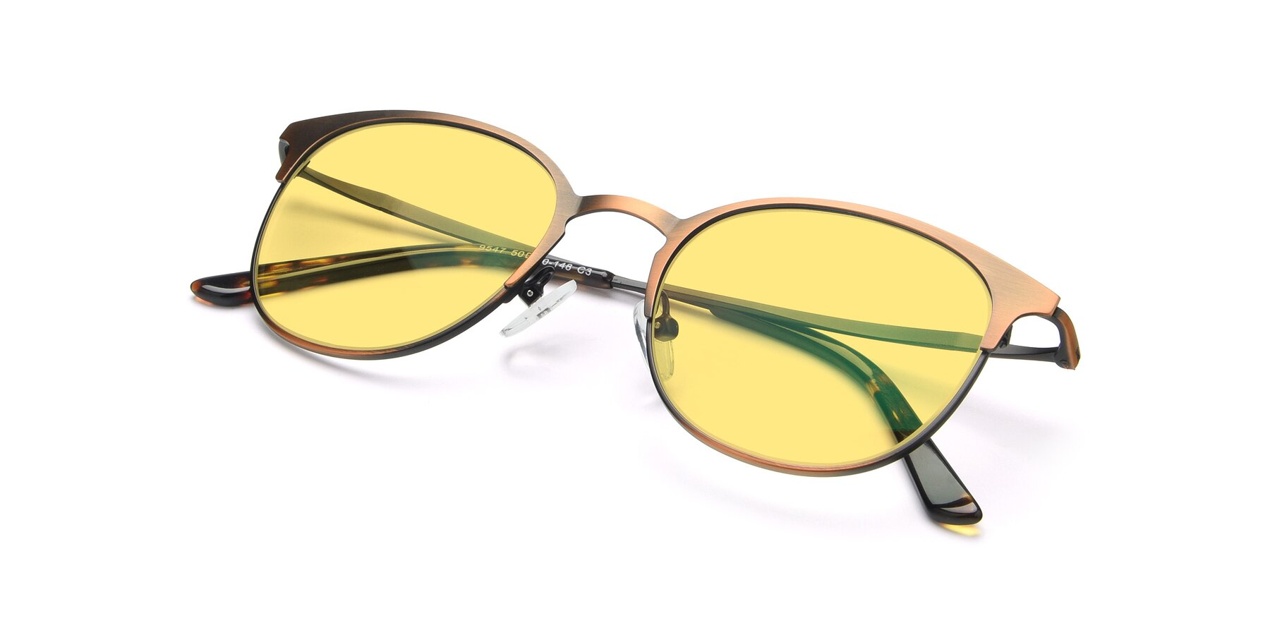 View of 9547 in Antique Bronze with Medium Yellow Tinted Lenses