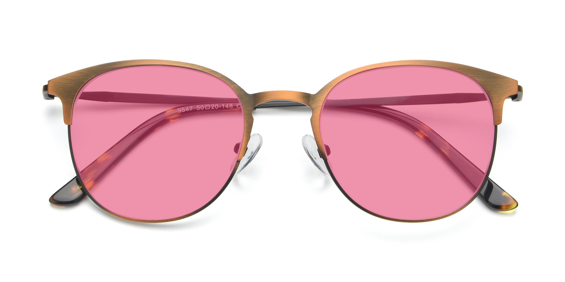 Folded Front of 9547 in Antique Bronze with Pink Tinted Lenses