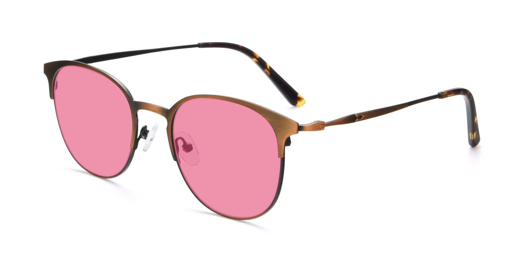 Angle of 9547 in Antique Bronze with Pink Tinted Lenses