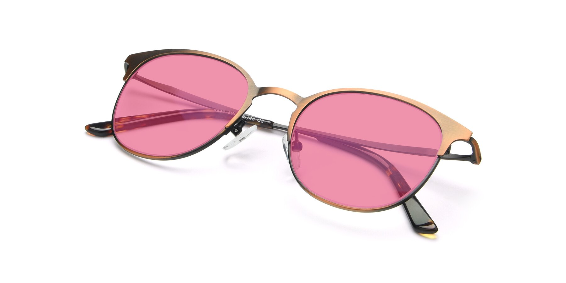 View of 9547 in Antique Bronze with Pink Tinted Lenses